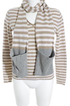 Herzensangelegenheit Strickpullover beige-creme Streifenmuster Casual-Look