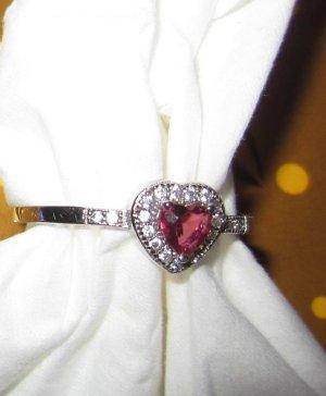 Herzform echter Gr. 56 Silberring gestempelt 925 Stein blass rot Ring Herz w neu