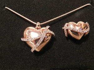 Herzkette mit Ring Gr.56(18) Roségold mit Swarovski Elements NEU