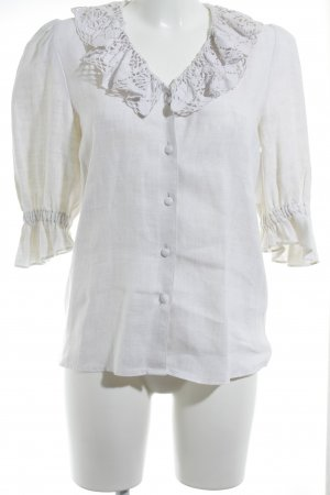Hess Frackmann Blusa in lino bianco sporco stile country