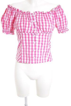 Hess Frackmann Trachtenbluse weiß-pink Karomuster klassischer Stil