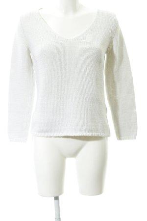 hessnatur Pull en crochet blanc cassé style décontracté