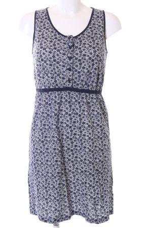hessnatur Jerseykleid blau-weiß Allover-Druck Casual-Look