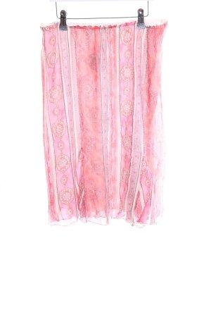 hessnatur Seidenrock pink-creme abstraktes Muster Casual-Look