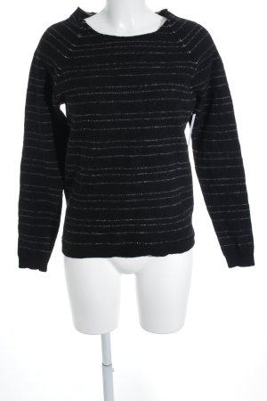 hessnatur Wollpullover schwarz-weiß Streifenmuster Casual-Look