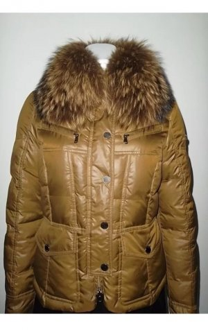 Hetrego Designer Jacke / Daunenjacke in khaki in Gr. 36 mit echtem Fuchsfell