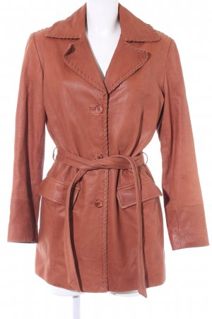 Hi Buxter Leather Coat cognac-coloured country style