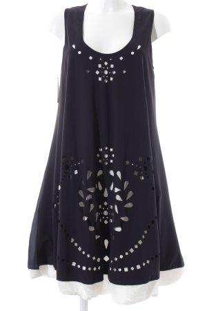 High Vestido línea A azul oscuro-blanco estampado con diseño abstracto
