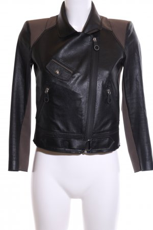 High Chaqueta de motociclista negro-marrón look casual