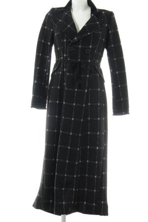 High bodenlanger Mantel schwarz-weiß Karomuster Casual-Look