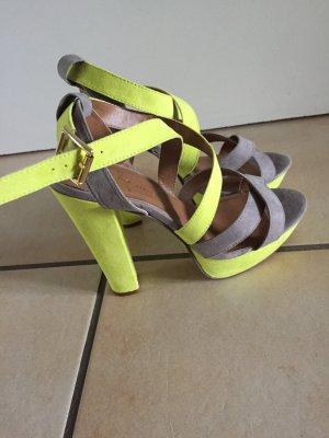 High heel  grau gelb sandaletten