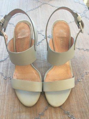 High Heel Sandal light grey-grey leather