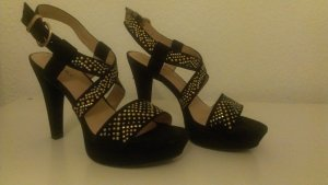 High Heel - Sandalen mit gold/silbernen Glitzersteinchen
