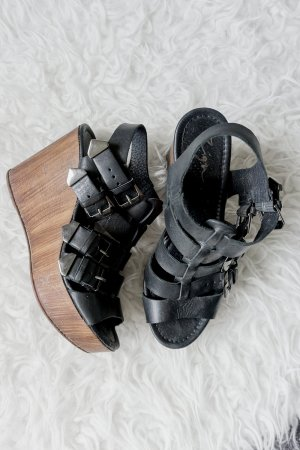 High Heel Sandalette / Blockabsatz in Holz-Optik
