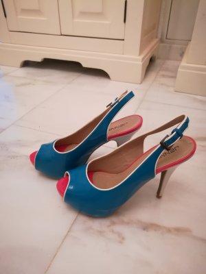 High Heel Sandal raspberry-red-neon blue