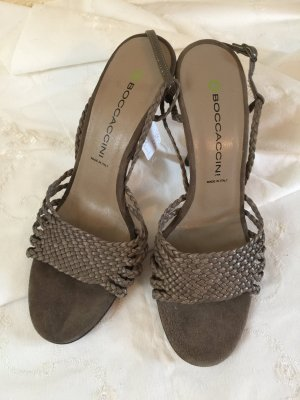 Strapped High-Heeled Sandals taupe-grey brown leather