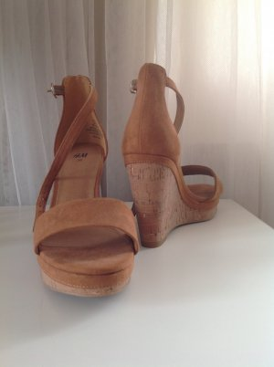 High Heel Sandalette Wedges in Cognac Braun von H&M Gr. 36