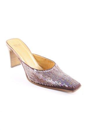 High Heel Sandaletten braunviolett-bronzefarben Boho-Look