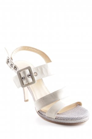 High Heel Sandal cream-light grey flecked wet-look