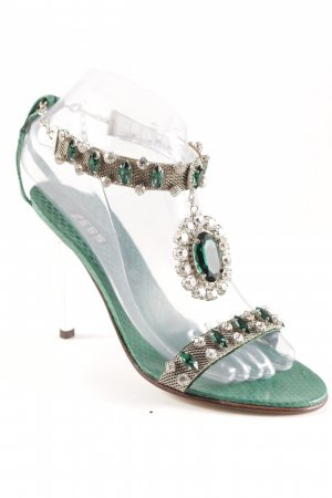 High Heel Sandal green animal pattern elegant