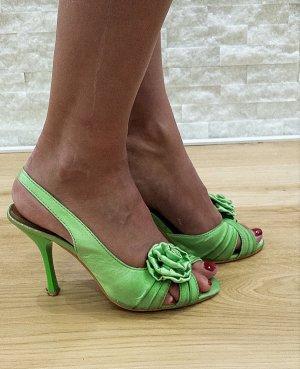 Hoge hakken sandalen weidegroen Gemengd weefsel
