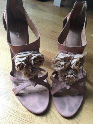 High Heel Sandaletten mit Stoffblumen