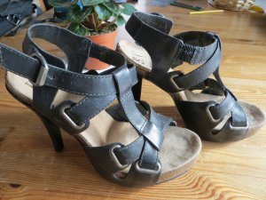 High Heel Sandal black leather