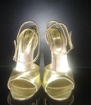 Sandaletto con tacco alto oro Pelle