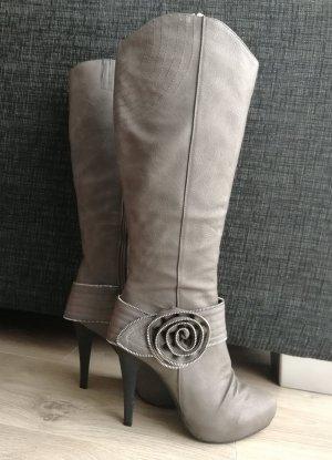High Heel Stiefel 11 cm Absatz Beige Dunkelbeige (Gr. 38)