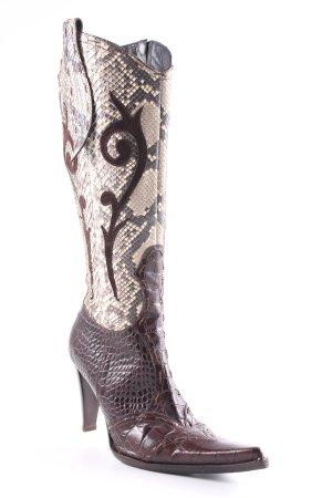 High Heel Stiefel dunkelbraun-sandbraun extravaganter Stil