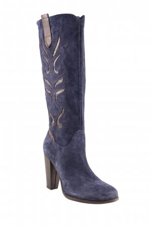 High Heel Boots steel blue-light brown graphic pattern country style
