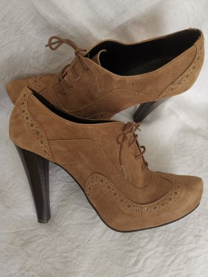 Peep Toe Booties grey brown-light brown