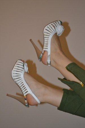High Heel Stilettos weiß Blume Slingback