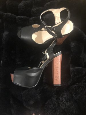 Diamonique Platform Booties black-brown