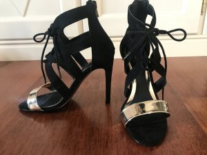 High Heel Sandal black-gold-colored imitation leather