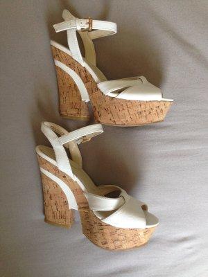 High Heels 36 für den Sommer weiß und Kork