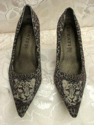 High Heels 37 Leoparden-Fell-Optik Velours Pumps Grau Animal