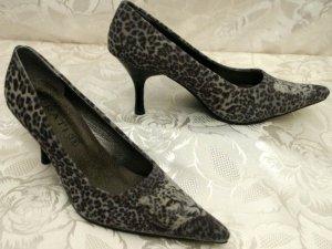High Heels 38 Leoparden-Fell-Optik Velours Pumps Grau Animal