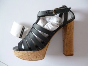 Mango High Heel Sandal dark blue leather