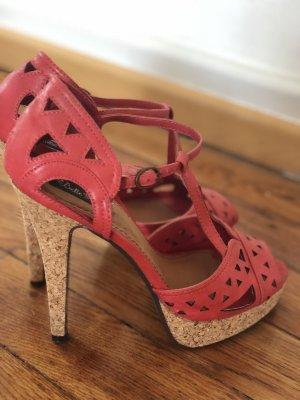 Belle Women Sandalias con plataforma rojo claro