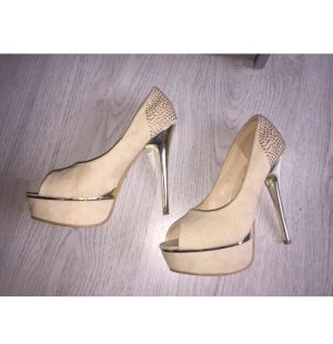 Peep Toe Pumps cream-gold-colored