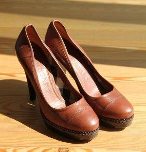High-Heels - Cognac/Braun - echt Leder