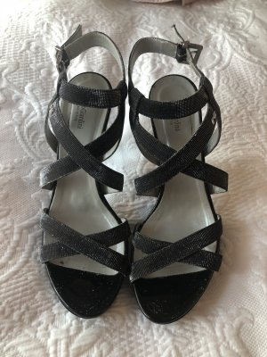 Nero Giardini Strapped High-Heeled Sandals black-silver-colored