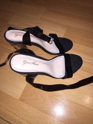 0039 Italy Sandales à talon haut noir-blanc