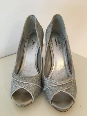 High Heels Glitzer Silber Peep Toe 11cm