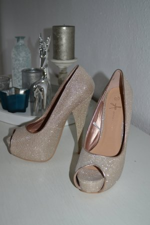 High Heels gold Glitzer neu