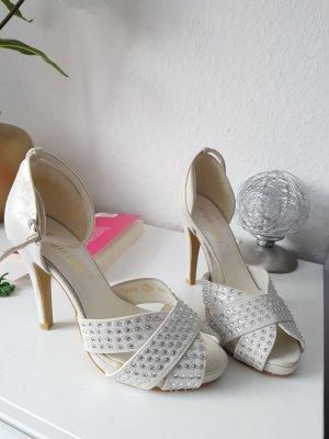 high heels gr. 36 silber weiss