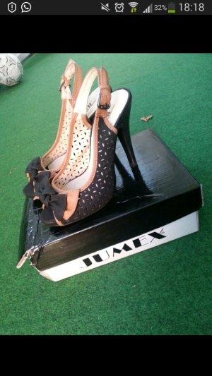 High heels /  hohe schuhe in braun schwarz / peeptoe