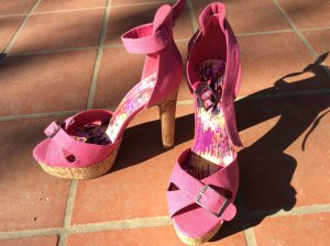 High Heels in Pink mit Korkabsatz, Gr. 41