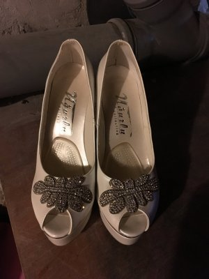 High Heels in Weiß / Silber